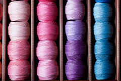 Pink and blue threads Royalty Free Stock Image