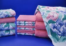 Pink and blue towel set Stock Photography