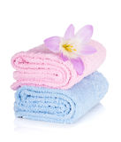 Pink and blue towels and flower Stock Photography