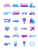 Pink-blue transport icons set. Set of 24 pink-blue transport icons Royalty Free Stock Photo
