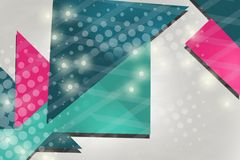 Pink and blue triangle overlap, abstract background Stock Photos
