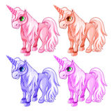 Pink and blue unicorns in cartoon style Royalty Free Stock Photo