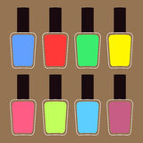 Pink blue violet, green, yellow nail polish varnish icon set Brown background  Fashion Template Flat design Stock Photography