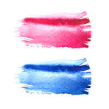 Pink and blue watercolor brush strokes with space for your own text. Wet brush stroke on paper texture. Dry brush strokes. Abstract composition for design stock illustration