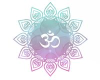 Pink blue Watercolor mandala Om Aum Symbol Stock Photography