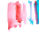 Pink and blue watery spreading illustration. Abstract watercolor hand drawn image. White background Stock Photography