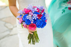 Pink and Blue Wedding Bouquet Royalty Free Stock Photography