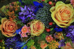 Pink and blue wedding flowers Stock Image