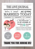 Pink blue wedding template collection for banners,Flyers,Placards with bride and groom in newspaper style stock illustration