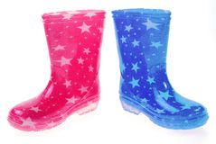 Pink and blue Wellington boots Stock Photos