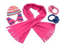 Pink and blue winter accessories isolated on white background. Stock Image