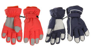 Pink and blue winter gloves Stock Images