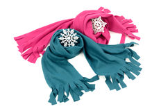 Pink and blue wool scarves nicely arranged. Stock Images