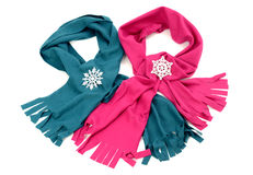 Pink and blue wool scarves nicely arranged. Stock Photo