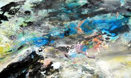 Pink blue yellow black soft background, hues, watercolor paint background. Pink yellow black background, in blue green phosphorescent hues, blurred vivid texture stock illustration