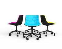Pink, blue and yellow modern office chairs Stock Images