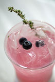 Pink Blueberry and Thyme Vodka Drink. Photograph of a pink blueberry and thyme vodka drink in a tall glass with ice stock photography