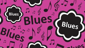 Pink blues texture. Inscription blues of violet color and music notes stock illustration