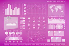Pink blur. Infographic elements, web technology icons.  economics timeline graph, reminder symbol. pie chart info graphic icon. financial statistic and marketing Royalty Free Stock Photos