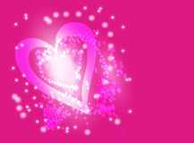 Pink blurred light background with bokeh effect. Shining bokeh pink heart. Vector background Royalty Free Stock Photo