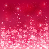 Pink blurry hearts Stock Images