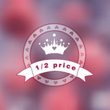 Pink blurry photo as a background with princess logo. Stock Photography