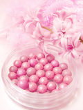 Pink blush in beads Royalty Free Stock Image