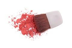 Pink blush and brush. Isolated on white Royalty Free Stock Photo