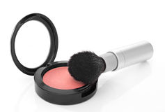 Pink blush and makeup brush on white background. Pink shimmer blush and makeup brush,  on white background Stock Photography