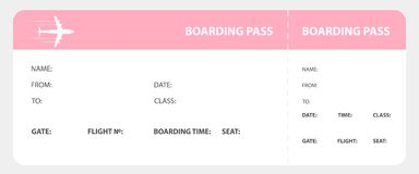 Pink boarding pass Royalty Free Stock Photo
