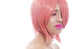 Pink bob haircut Stock Images