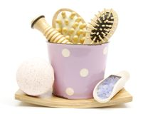 Pink body care set. Body care accessories in pink mug Royalty Free Stock Photo