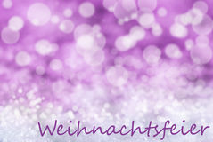 Pink Bokeh Background, Snow, Weihnachtsfeier Means Christmas Party Royalty Free Stock Image
