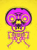 Pink bone structure and skull. With yellow background Royalty Free Stock Image