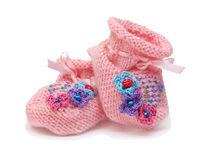 Pink bootees Stock Images