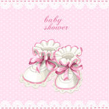Pink booties baby shower card Stock Photography