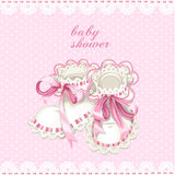 Pink booties for newborn baby shower card Royalty Free Stock Photos