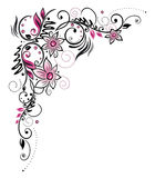 Pink border. Colorful flower decoration, tribal and tattoo style Stock Photos