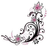 Pink border. Colorful flower decoration, tribal and tattoo style Royalty Free Stock Photo