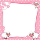 Pink Border  Frame  with Cute Sheep Stock Photo