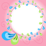 Pink border frame with leaves Royalty Free Stock Images