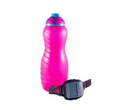 Pink Bottle and Watch Royalty Free Stock Images
