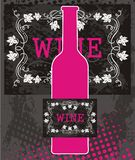 Pink bottle of wine and black label Royalty Free Stock Image
