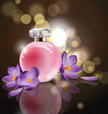 Pink bottle women`s perfume with spring flowers crocuses on blurred background. Vector Royalty Free Stock Photo