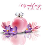 Pink bottle women`s perfume with spring flowers crocuses . Vector Stock Photography
