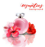 Pink bottle women`s perfume with spring flowers crocuses . Vector Stock Photos