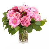 Pink Bouquet Flowers. Isolated on white with clipping path Royalty Free Stock Images
