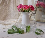 Pink bouquet flowers white vase bokeh background. Pink flower closeup white vase bokeh background still-life spring stock photography