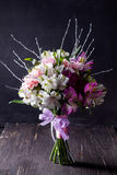 Pink bouquet from gillyflowers and alstroemeria on blackboard an Royalty Free Stock Photography