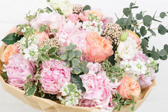 Pink bouquet of Roses, Hydrangea and eucalyptus. Bouquet of Roses, Hydrangea and eucalyptus Royalty Free Stock Photo